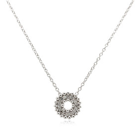 14K White Gold Diamond Circle Pendant Necklace 31000892