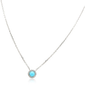 14K White Gold Turquoise Diamond Necklace 32000548