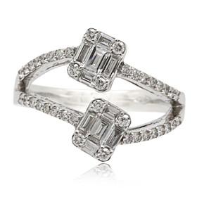 14K White Gold Diamond Criss Cross Ring 11006072