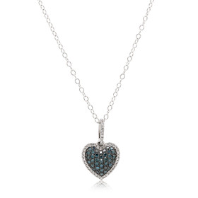 10K White Gold Blue Diamond Heart Charm  59110042