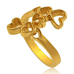 14K Yellow Gold Hearts Bypass Ring