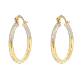 10K Two Toned Gold Hoop Earrings 49000154