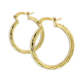10K Yellow Gold Diamond Cut Hoop Earrings 49000156