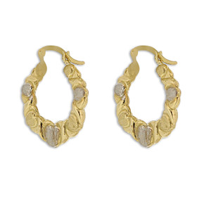 10K Two Toned Gold Hugs and Kisses Hoop Earrings 49000158