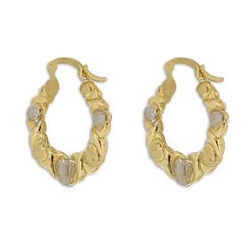 10K Two Toned Gold Hugs and Kisses Hoop Earrings 49000158
