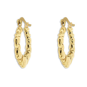 14K Yellow Gold Hugs and Kisses Hoop Earrings 49000159
