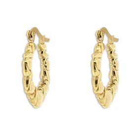 14K Yellow Gold Hugs and Kisses Hoop Earrings 49000159