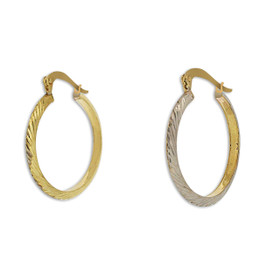 10K Two Toned Gold Diamond Cut Hoop Earrings