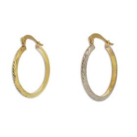 10K Two Toned Gold Diamond Cut Hoop Earrings