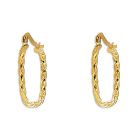 14K Yellow Gold Twisted Square Hoop Earrings 49000166