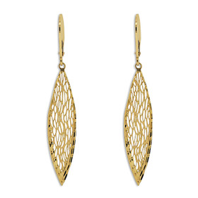 14K Yellow Gold Leaf Drop Lever Back Earrings