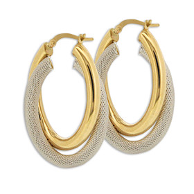 14K Two Toned Gold Mesh Oval Hoop Earrings 40002517
