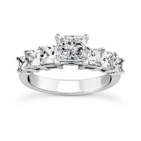 18K White Gold GIA Certified Princess Cut Diamond Engagement Ring -R