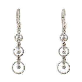 14K White Gold Diamond Circle Drop Earrings 41002231