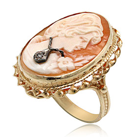 14K Yellow Gold Diamond Oval Cameo Ring 12001713
