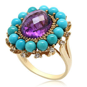 10K Yellow Gold Amethyst and Turquoise Ring 12002599