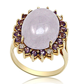 14K Yellow Gold Lavender Jade Amethyst Diamond Ring 12002682
