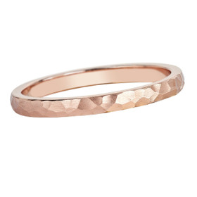 14K  Pink Gold 2mm Hammered Wedding Band 10017386