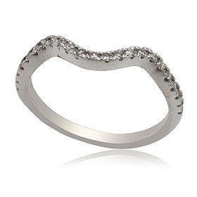14K White Gold Curved Diamond Wedding Band 11006077