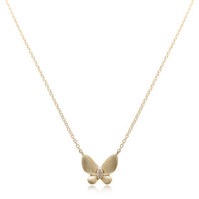 14K Yellow Gold Diamond Butterfly Necklace 31000888