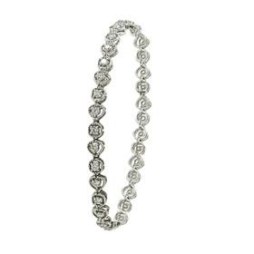 14K White Gold Diamond Heart Bracelet 21000645