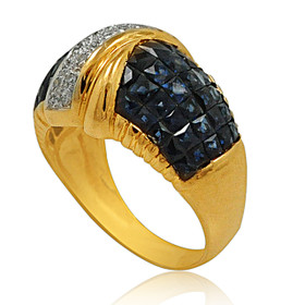 14K Yellow Gold Diamond and Sapphire Ring 11000574