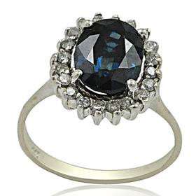 14K White Gold Sapphire and Diamond Ring 12001430