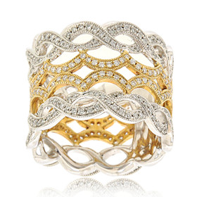 14K Two Toned Gold Diamond Fancy Band 11006093