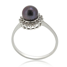 14K White Gold Black Pearl Diamond Ring 12002726
