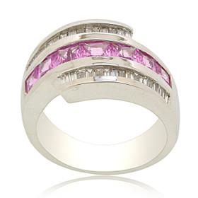 14K White Gold Pink Sapphire Diamond Band 12002727