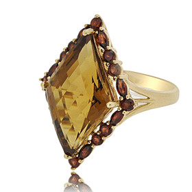 10K Yellow Gold Smoky Topaz and Garnet Fancy Ring 19210049