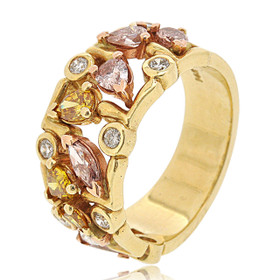 14K Yellow Gold Multicolored Diamond Band 11006090