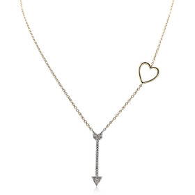 14K Two Toned Gold Diamond Arrow Heart Necklace 31000903