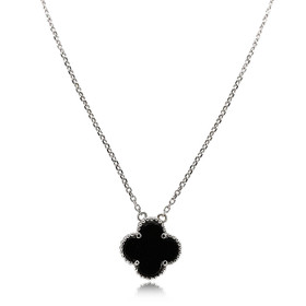 14K White Gold Onyx Clover Necklace 32000552