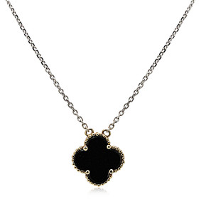 14K Two Toned Gold Onyx Necklace 32000553