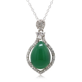 Silver Cubic Zirconia and Jade Pendant 85210479