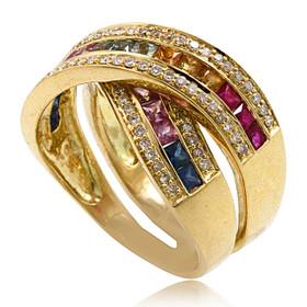 18K Yellow Gold Multicolor Gem Stone Ring