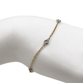 14K Yellow and White Gold Bezel Set Diamond Bracelet 21000663