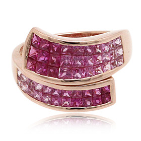 14K Rose Gold Pink Sapphire Bypass Ring 12002733