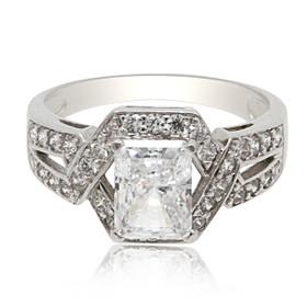 14K White Gold Fancy Cubic Zirconia Ring 12002736