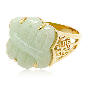 14K Yellow Gold Green Jade Ring 12002735