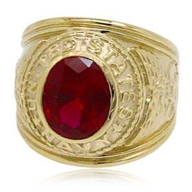 10K Yellow Gold Ruby US Navy Ring 19000229