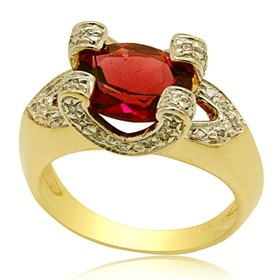 14K Yellow Gold Tourmaline Diamond Ring 12002738