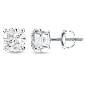 14K White Gold 1.02 carat Diamond Stud Screw Back Earrings