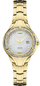 Seiko Women's Solar Diamond Collection Diamond-Accent Gold-Tone Stainless Steel Bracelet SUT380