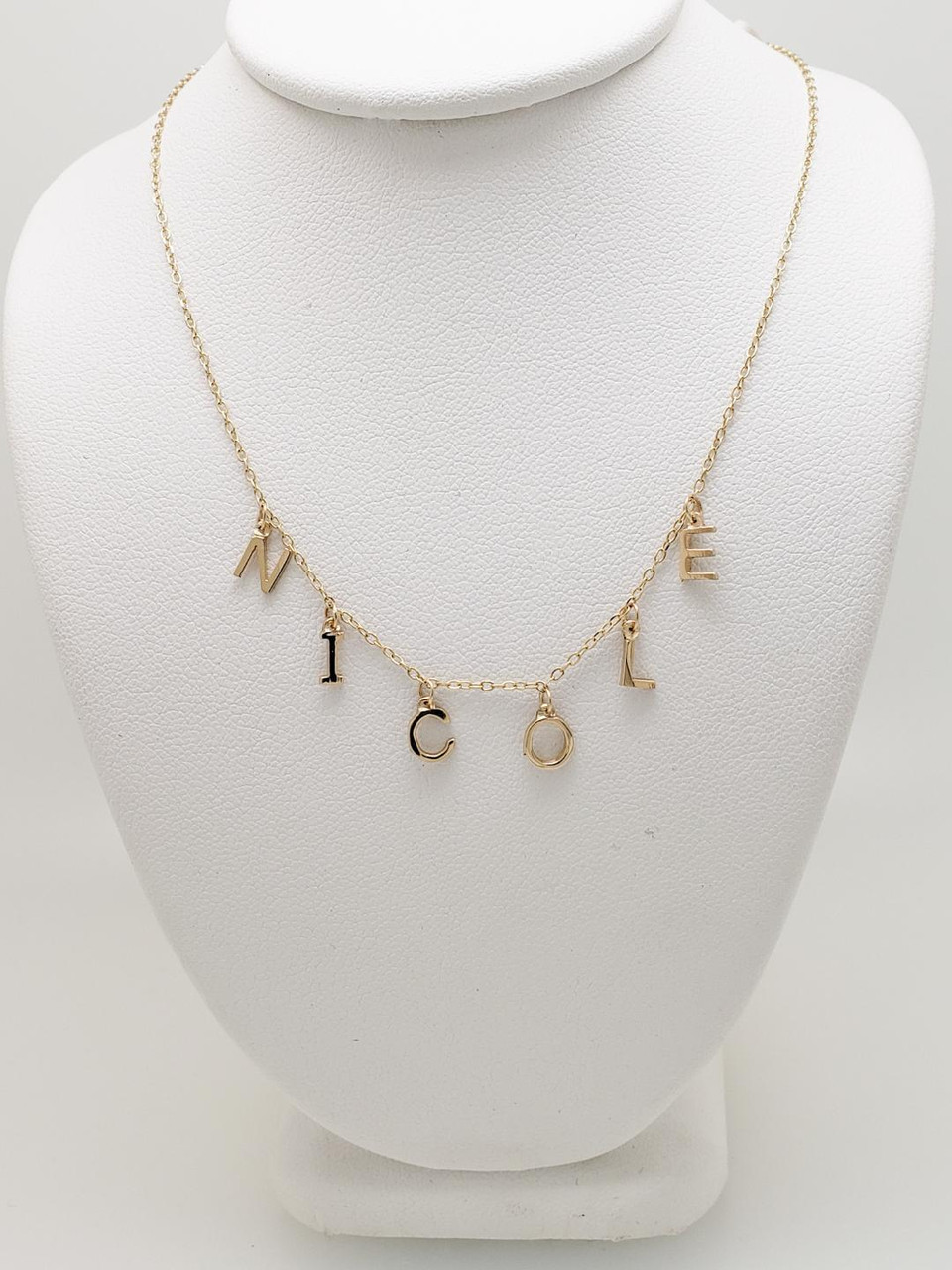 2299972792863 Custom 14K Yellow Gold Name Necklace (Nicole)