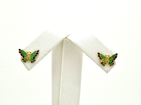 14K Yellow Gold Blue/Green Butterfly Baby Screwback Earrings 40002590
