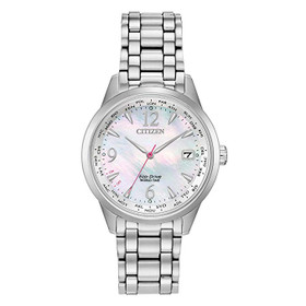 Ladies' Citizen Eco-Drive World Time Silver Watch FC8000-55D
