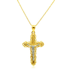 14K Two Tone Gold Crucifix Cross Charm 50003504