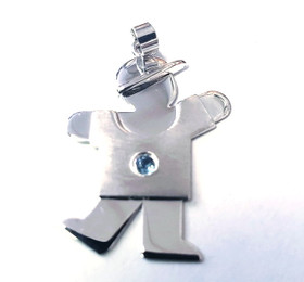 14k White Gold Kid's Charm Boy with Aquamarine Stone